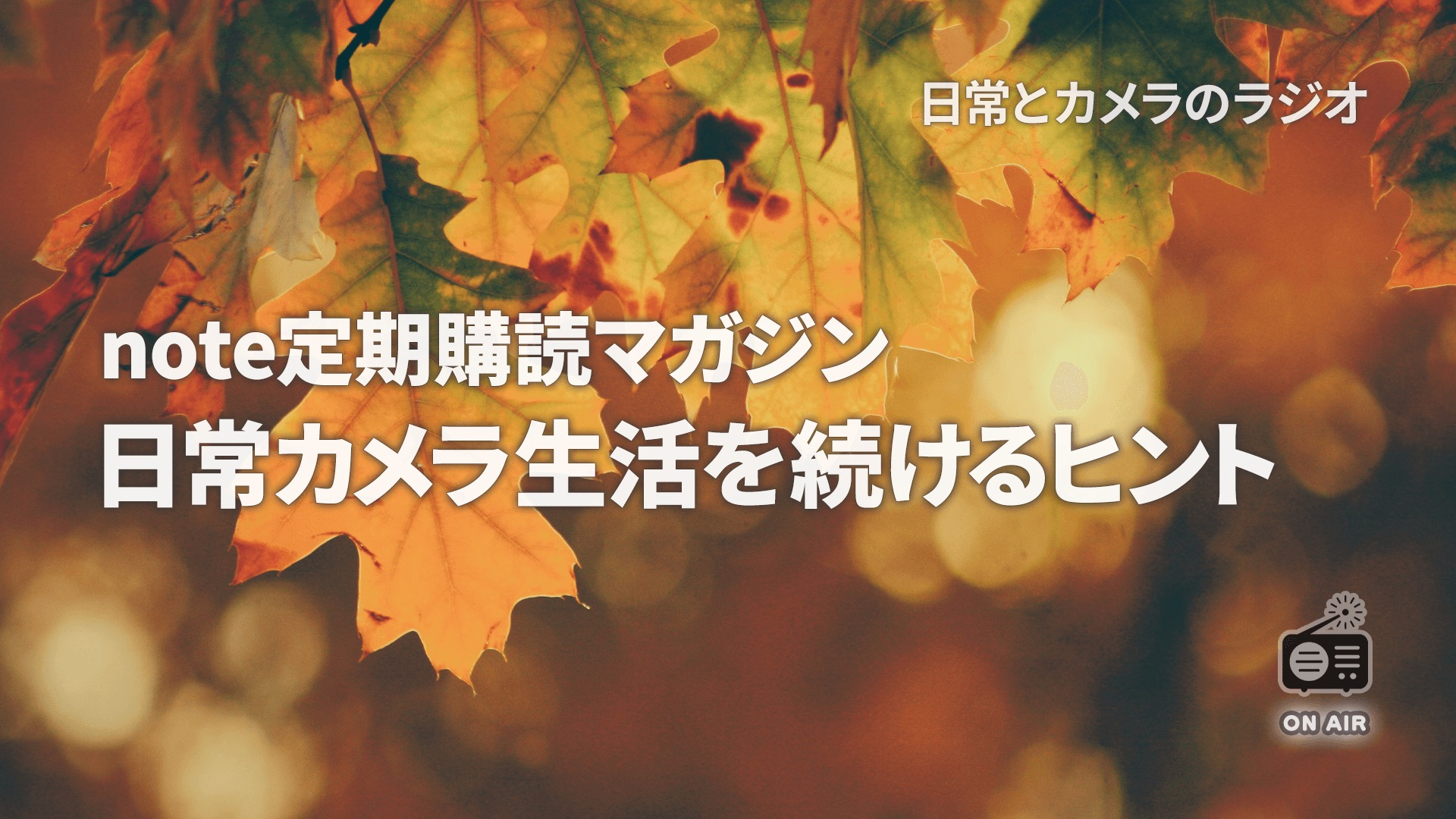 note定期購読マガジン|日常カメラ生活を続けるヒント